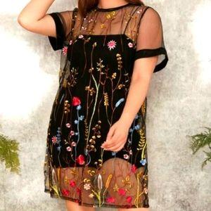 Fashion Nova sz M sheer floral dress.